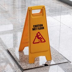 slippery floor sign in commercial building